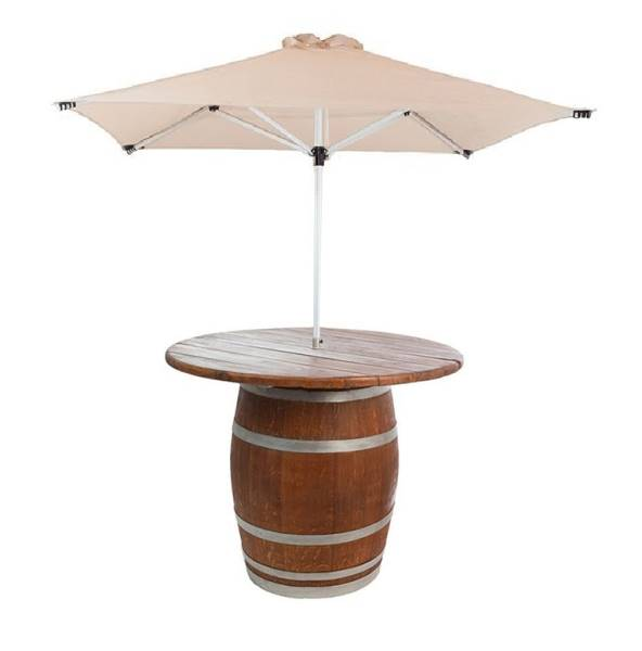 Full Barrel with wooden counter & parasol umbrella