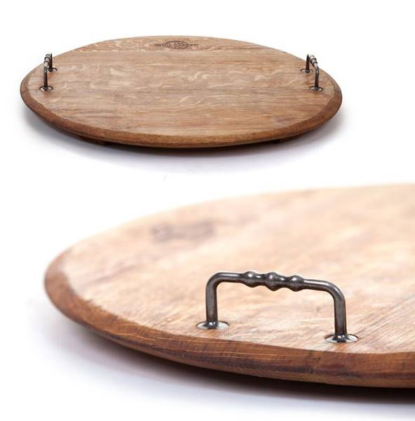 Round serving board with antique metal handles
