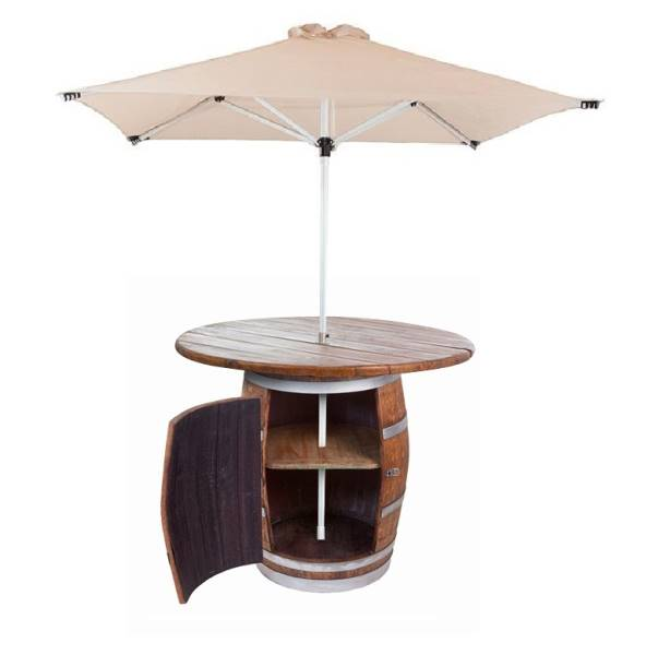 Full barrel cabinet with wooden counter & parasol umbrella