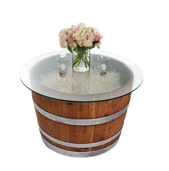 Half barrel with glass table top