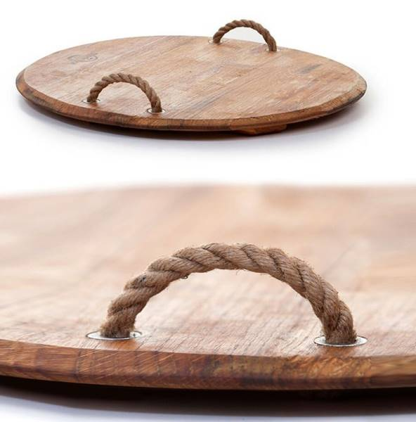 Round serving board with rope handles